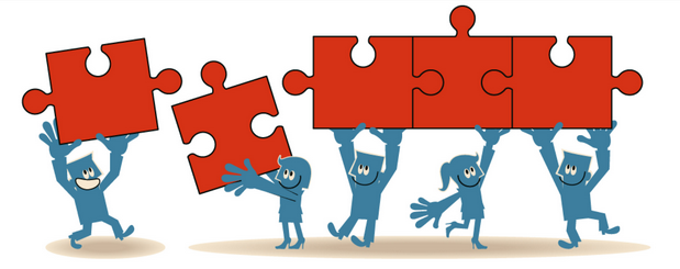 Graphic of people working on a puzzle together