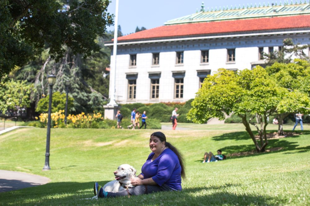 Lucy Greco with her service dog at UC Berkeley