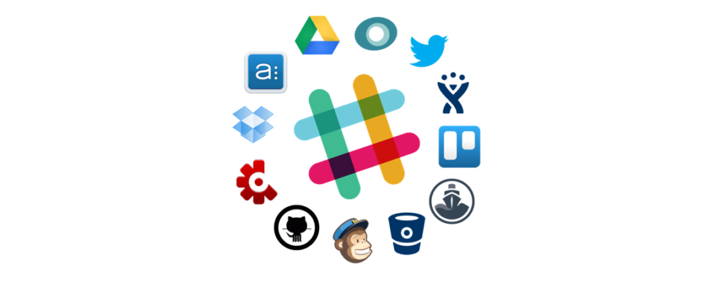 Many application logos circling one big Slack logo