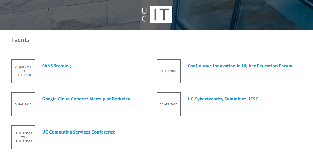 Screenshot of Events page on UC IT Portal
