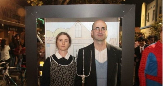 Eric and Julie dress up as farmers for Halloween