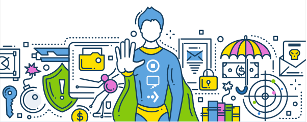 A Superhero asks users to stop, think, connect