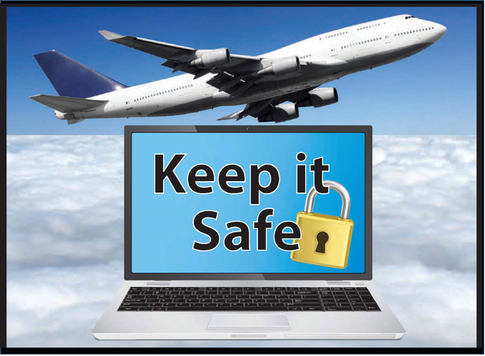 "A plane flying next to a computer that says ""Keep it Safe."""