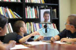 Kids speaking with a telepresence robot