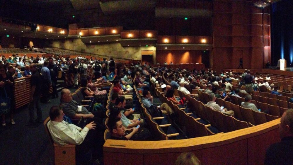 Audience gathering in the Mondavi for the keynote speech at the 2017 symposium.
