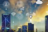 city skyline with wifi symbols