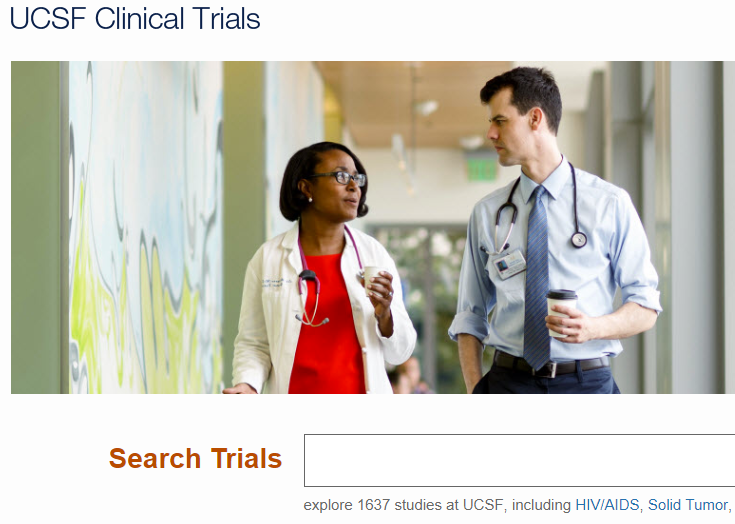 screenshot of UCSF clinical trials website