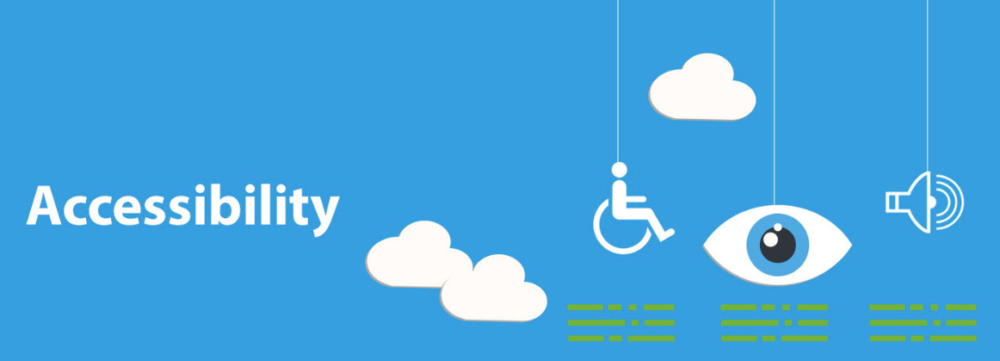 Accessibility graphic, clouds, wheelchair, eyeball on blue background