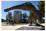 A collage of an Anteater statue, a lab technician pouring chemicals and a network room.