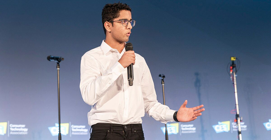 Kumaran Akilan presented his research on using a smartphone to potentially diagnose Alzheimer's disease at the Consumer Electronics Show in Las Vegas in January.