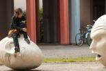 Yin and Yang egghead statue, UC Davis