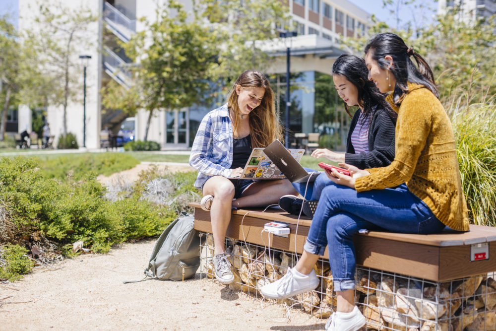 students studying on UCSD's campus