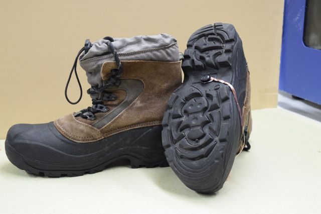 The fire-retardant triboelectric nanogenerator mounted on a work boot.