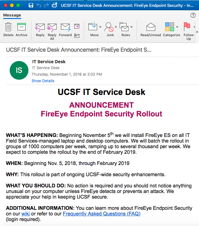 UCSF IT Service Desk Announcement email