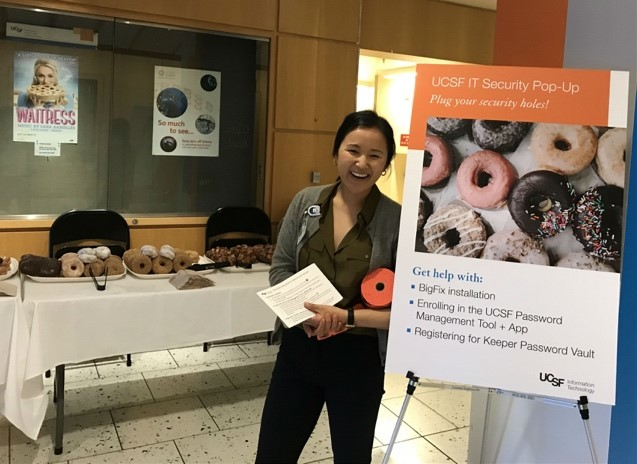 A photo of an attendee at UCSF's IT Security Pop-Up Donut event