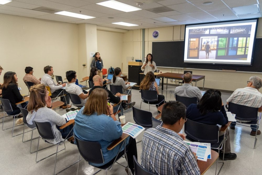 A presentation taking place in a classroom at the Fall 2019 EdTech Showcase at UCSD.