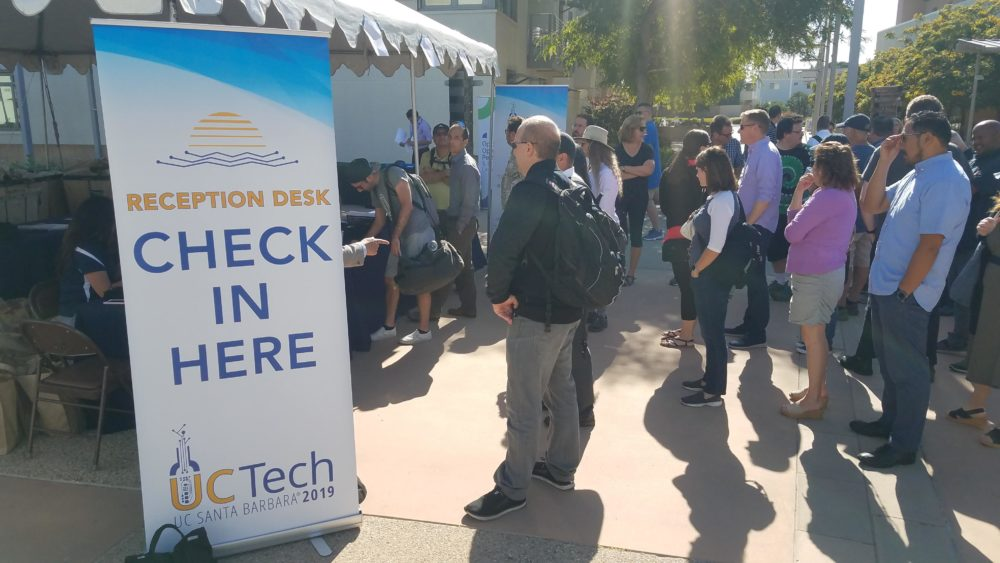 UC IT staff wait in line to register for UCTech 2019
