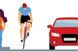 A couple walking, a bicyclist and a car sharing the road. (UC Berkeley graphic by Hulda Nelson)
