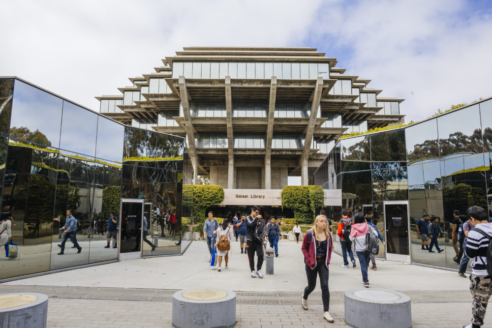 Geisel Library to the Price Center, a student center which serves more than 30,000 visitors a day.The Geisel Library was designed in the late 1960s by William Pereira, who also designed SF's Trans America building and UC Irvine.
