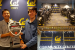 Three photo collage: first photo of Kirk Robles holding a Cal Esports trophy, second photo of outside the Cal Esports Community Center, third photo of inside the Cal Esports Community Center