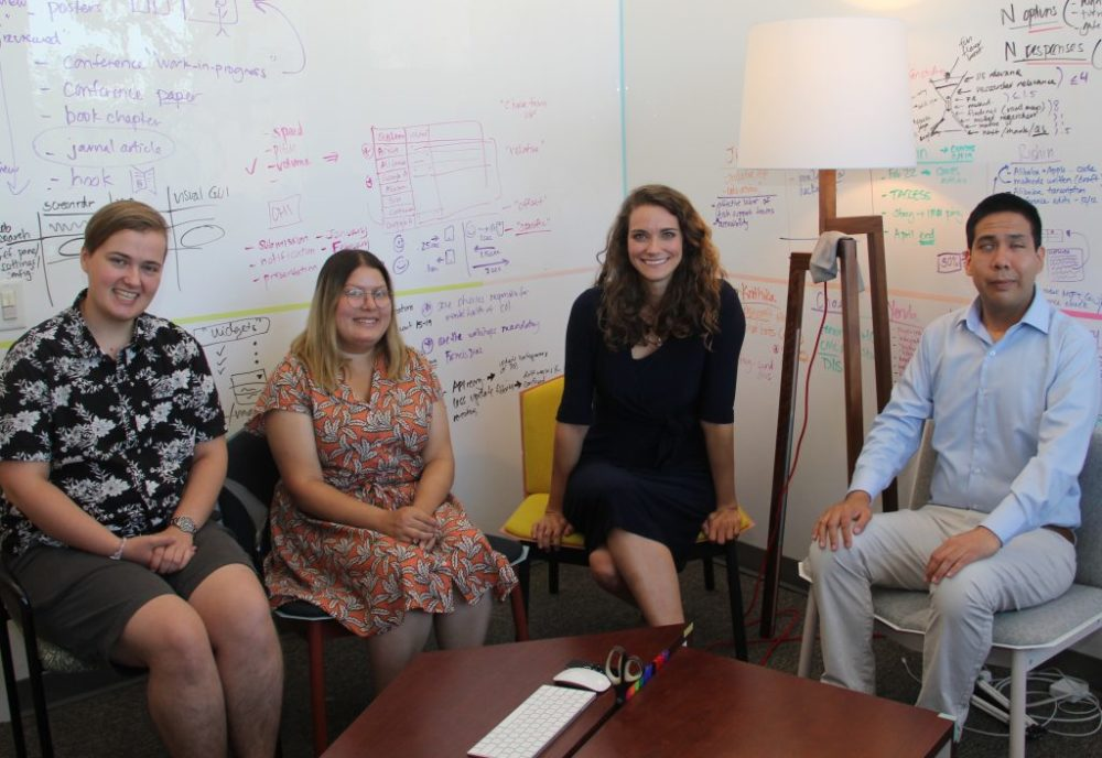 Researchers working on wayfinding technology for older adults and individuals with vision impairments (from left): Ph.D. student Emory Edwards, M.S. student Maya Gupta, Professor Stacy Branham and undergraduate Hipolito Ruiz.