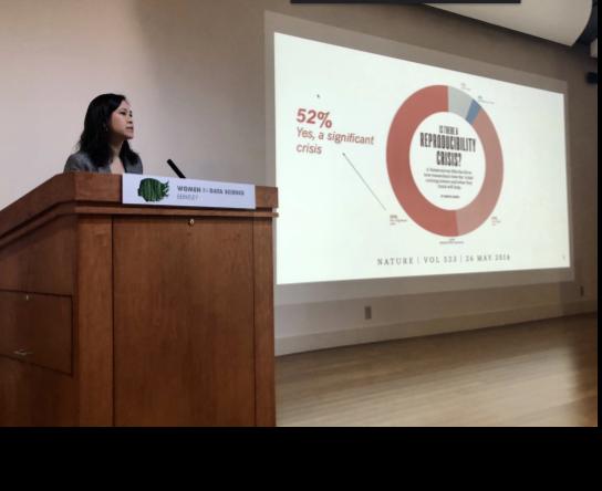 Dr. Jade Benjamin-Chung talking about reproducibility crisis.