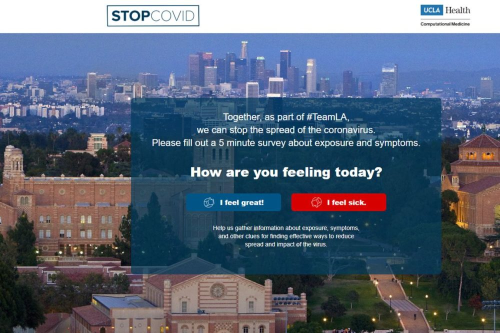 A screenshot of the Stop COVID-19 Together app,