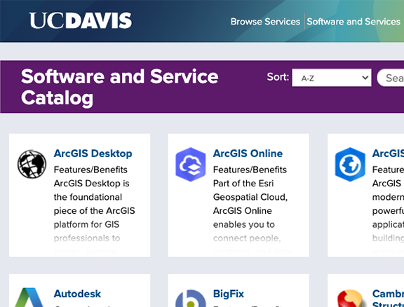 Screenshot of UC Davis' Software and Service Catalog