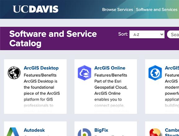 Screenshot of UC Davis' Software and Service Catalog