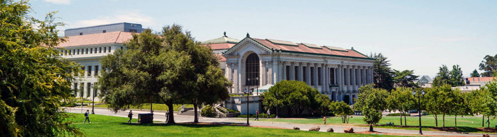 Doe Library and The Bancroft Library on the UC Berkeley campus were photographed on Aug. 9, 2019. (Photo by Violet Carter for the UC Berkeley Library)