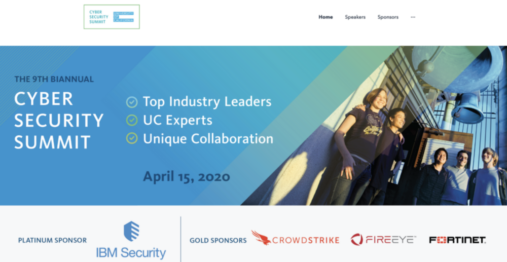 Screenshot from UC Cyber Security Summit website