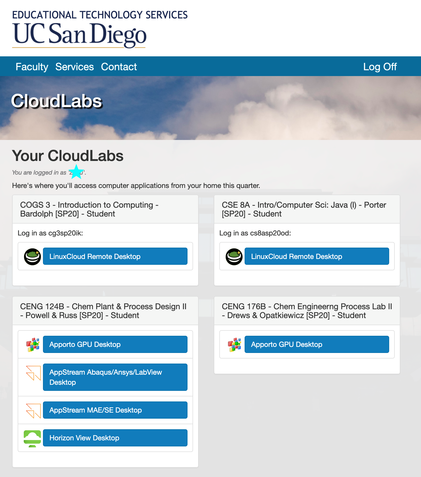 UCSD CloudLabs screenshot
