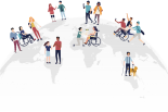 A globe with various people with disabilities standing on it, in various locations