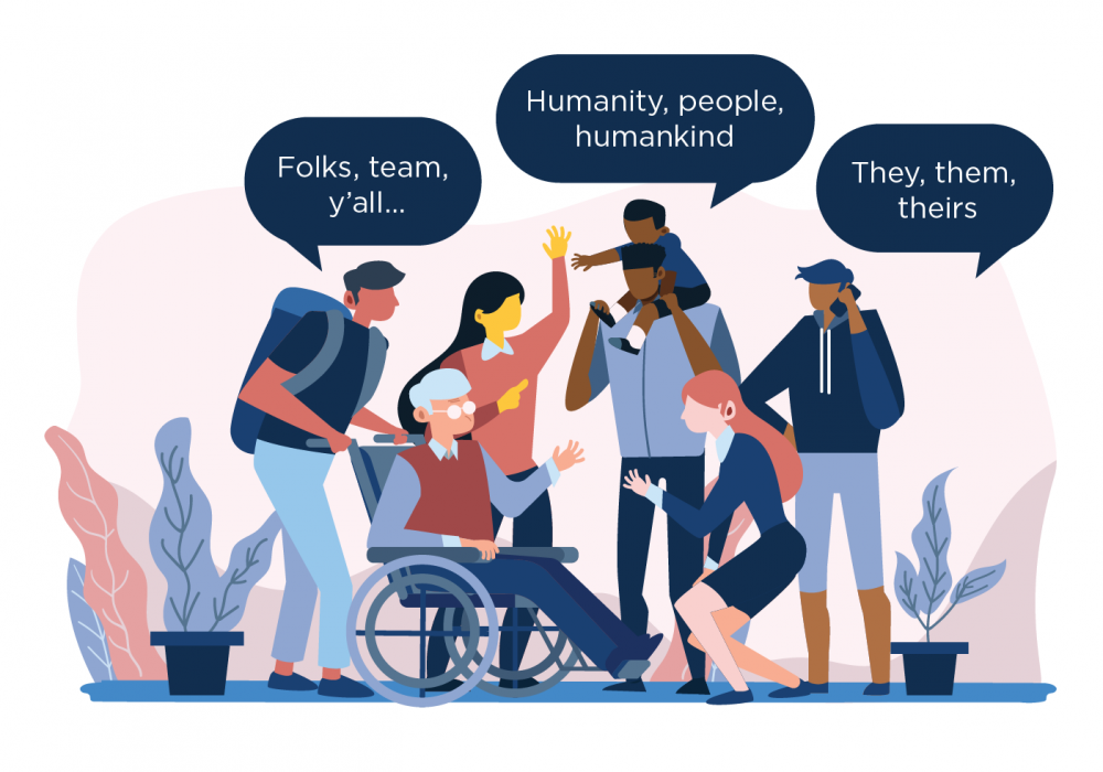 A group of people using inclusive language, through word bubbles.