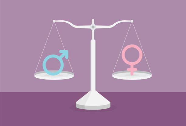 male and female genders on opposites sides of a scale