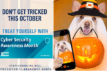 A dog holding a cell phone and a jack-o-lantern bucket, Cyber Security Awareness Month (CSAM)