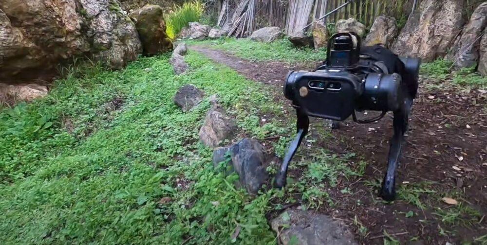 An AI Robot navigates tough terrain